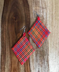 "Resell for 9.00 or more Wood with string boho earrings  2 3/8 x 4"" Red  with bright string Style #RWBE070618"
