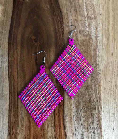 """Resell for 9.00 or more Wood with string boho earrings  2 3/8 x 4"""" Pink with bright string Style #PWBE070618"""