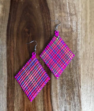 "Resell for 9.00 or more Wood with string boho earrings  2 3/8 x 4"" Pink with bright string Style #PWBE070618"