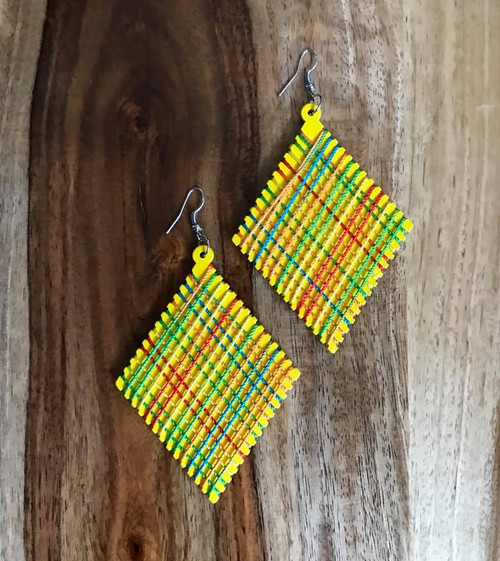 """Resell for 9.00 or more Wood with string boho earrings  2 3/8 x 4"""" Yellow with bright string Style #YWBE070618"""