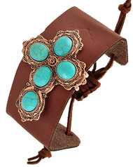 "resell for 18.00 or more Copper Tone / Brown Leatherette & Turquoise Stone / Lead Compliant / Adjustable / Western Theme / Religious / Cross / Band / Bracelet / •   SIZE FREE : ADJUSTABLE •   WIDTH : 1 7/8""	 •   COOPER/BROWN  Style #BLTCB071118"