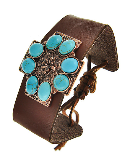 """resell for 18.00 or more Copper Tone / Brown Leatherette & Turquoise Stone / Lead Compliant / Adjustable / Western Theme / Religious / Cross / Band / Bracelet /  •   SIZE FREE : ADJUSTABLE •   WIDTH : 1 7/8"""" •   COPPER/BROWN  Style #SWBTB071118"""