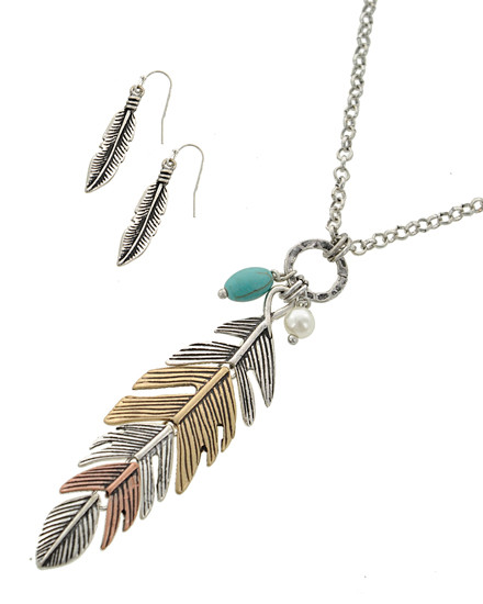 """resell for 45.00 or more Multi Tone / Lead&nickel Compliant / Metal / Fish Hook (earrings) / Feather / Pendant / Long Neck & Earring Set  •   LENGTH : 33"""" + EXT •   PENDANT : 7/8"""" X 3 1/2"""" •   EARRING : 1/4"""" X 1 5/8"""" •   SILVER/THREE TONE  Style #TTFN071118"""