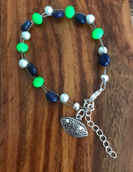 Resell for 18.00 or more 7.5 inch floating bracelet plus set chain I love football charm Team colors Seattle Seahawks green blue silver Style #SSFB071318