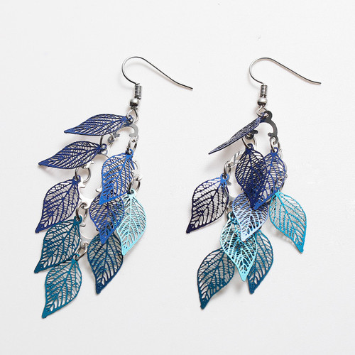 """resell for 15.00 or more Shades of Blue Leaf Hollow 79mm(3 1/8"""") x 26mm(1"""") Earrings Style #BLE071918"""