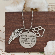 """resell for 12.00 or more Copper silver plated Pet Memorial Necklace. Pewter Wing Footprint Message 57.5cm(22 5/8"""") long Style #PMCN071918"""