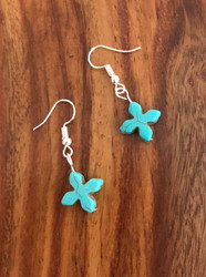 """Resell for 7.00 or more Turquoise magnesite cross 1/2"""" x1/2"""" Surgical steel ear wires Style #TMCE072318"""