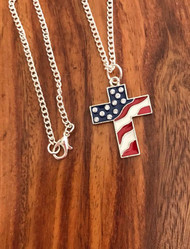 "Resell for 18.00 or more 18"" silver-tone chain Pewter enameled cross 1"" x1.5"" Red white blue flag design w Crystal Style #RWBCN07218"