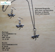 Gunmetal Dragonfly with clear crackled glass earrings; bauble & chain sold separately