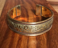 Resell for 36.00 or more Antiqued copper w brass cuff bracelet  8 inches and 18mm wide Domed w flower design Style #DFCB072418