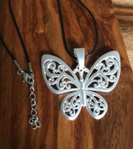 """Resell for 18.00 or more 20"""" satin black cord plus ext  Matte silver butterfly pendant 2 1/4 x 2"""" Style #MSBN072418"""