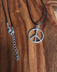 """Resell for 12.00 or more 20"""" satin black cord plus extender  Pewter peace  sign 24mm Style #PSPN072418"""