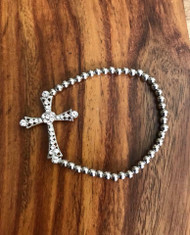 """Resell for 12.00 or more Silver tone beaded stretch bracelet 7.5"""" Cross w Crystal Style #STSCB072718"""