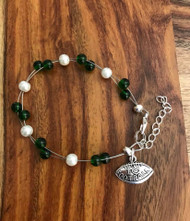 """Resell for 18.00 or more 7.5"""" plus ext chain floating bracelet Pewter I love football charm  Made by Ashley  Michigan State football colors  Green white Style #MSFB072718"""