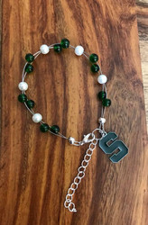 """*official licensed charm 18.00 Resell for 40.00 or more 7.5"""" plus ext chain floating bracelet Made by Ashley  Green S Charm  Michigan State football colors  Green white Style #MSOLFB072718"""