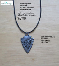 Howling Wolf Pendant; leather necklace sold separately