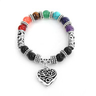 "resell for 27.00 or more Stone Yoga Healing Bracelets Antique Silver Multicolor Heart Round 17cm(6 6/8"") long Style #HCB073118"