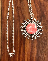 """Resell for 12.00 or more 20"""" silver tone chain  Pewter sunburst w inlaid shell cabochon Style #CSN080218"""
