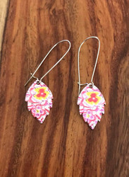 """Resell for 27.00 or more Enameled pewter leaf/ kidney wire 2 1/4"""" long Pink yellow Style #PYEE080318"""