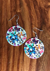 "Resell for 12.00 or more Enameled butterfly laser lace earrings 1 1/2"" x 1 3/8"" Surgical steel ear wires Style #MCBLLE080318"