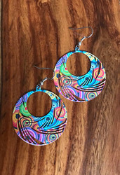 "Resell for 12.00 or more Enamel swirl earrings peacock feather design Multi color Surgical steel ear wires  1 3/4 x 1 5/8"" Style #PFGGE080318"