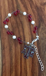"Resell for 40.00 or more  7.5"" plus ext chain floating bracelet Official licensed Texas A & M charm Made by Ashley Style #TAMOB080718"