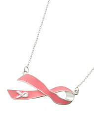 """resell for 33.00 or more Silver Tone / Pink Epoxy / Lead&nickel Compliant / Metal / Pink Ribbon / Delicate / Necklace  •   LENGTH : 16"""" + EXT •   PENDANT : 1 3/4"""" X 3/4""""  •   SILVER/PINK Style #PRN080818"""