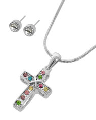 "resell for 33.00 or more Silver Tone / Multi Color Rhinestone / Lead&nickel Compliant / Metal / Post (earrings) / Pendant / Religious / Cross / Necklace & Earring Set  •   LENGTH : 16 1/4"" + EXT •   PENDANT : 3/4"" X 1 1/2"" •   EARRING : 3/16"" DIA  •   SILVER Style #CCNS080918"