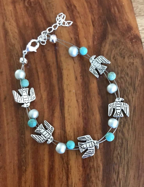 """Resell for 15.00 or more 7.5"""" plus extender  Floating bracelet Pewter totem eagle bird, turquoise magnesite w matte silver glass Style #TBFB080918"""