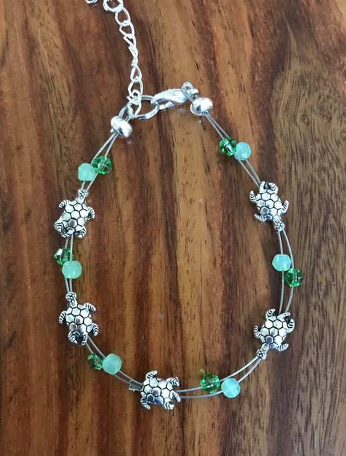 """Resell for 15.00 or more 7.5"""" plus extender  Floating bracelet Pewter turtle, 2 shades green crystal Style #GTFB080918"""