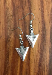 "Resell for 8.00 or more Pewter arrow earrings 7/8 x 5/8"" Surgical steel ear wires Style #PAE081018"