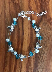"Resell for 18.00 or more 7.5"" plus ext floating bracelet  Pewter elephant w matte silver and teal glass Made by Ashley Style #EFB081718"