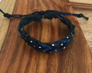 """Resell for 15.00 or more Painted leather black Chinese knot closure Fits 6.5 to 10.5"""" Black blue silver gold Style #BLMPB081718"""