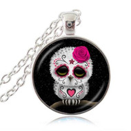 resell for 15.00 or more sugar skull owl pendant 20 inch silver tone chain Style #SSO081718
