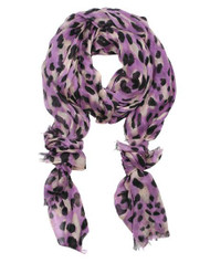 """**This purchase will also donate 1 scarf with earrings to a cancer patient**  6 available 12.00  Purple / 100% Modal / Modal Leopard Printed Scarf  •   27"""" x 69""""   •   100% Modal Style #PBLS082118"""