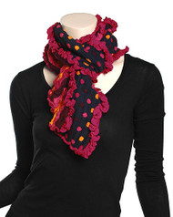 "**This purchase will also donate 1 scarf with earrings to a cancer patient** 3 available 12.00 resell for 36.00 or more Navy, Fuchsia / Acrylic Embossed Muffler: Polka Dots  • 8.6"" x 28"" 	 •   100% Acrylic   •   NAVY/FUCHSIA  Style #NFOPDS082118"