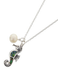 "resell for 36.00 or more Antique Silver Tone / Green Multi Color Abalone W/epoxy / Lead Compliant / Metal / Pearl - Synthetic / Pendant / Filigree / Sea Life / Seahorse / Necklace  •   LENGTH : 18"" + EXT •   PENDANT : 5/8"" X 1 3/8""	 •   SILVER/ABALONE  Style #ASHN082218"