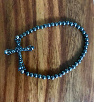 Resell for 12.00 or more 7.5 inch gunmetal stretch bracelet w cross and gunmetal crystal Style #GMCCSB082318