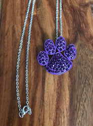 """Resell for 18.00 or more 18"""" silver tone chain  Purple enameled pet paw pendant purple crystal 1.5 x 1.25"""" Style #PPPN082418"""