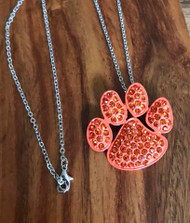 "Resell for 18.00 or more 18"" silver tone chain  Orange enameled pet paw pendant orange crystal 1.5 x 1.25"" Style #OPPN082418  clemson"