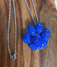 "Resell for 18.00 or more 18"" silver tone chain  Royal blue enameled pet paw pendant blue crystal 1.5 x 1.25"" Style #RBPPN082418"