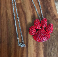 "Resell for 18.00 or more 18"" silver tone chain Red enameled paw w red crystal 1.5 x 1.25"" pendant Style #RPPN082418"