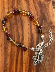 7.5 inch plus extender  Floating bracelet Fall colors glass pewter leaf Made by Ashley Style #FFB082718