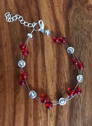 Resell for 15.00 or more 7.5 inch plus ext Red glass pewter hearts floating bracelet Made by Ashley Style #RHFB082718