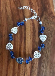 7.5 inch plus extender floating bracelet Blue glass pet paws w hearts Made by Ashley Style #BPPHFB082718