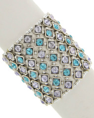 """resell for 36.00 or more Silver Tone / Lt.blue Rhinestone / Lead&nickel Compliant / Metal / Stretch / Bracelet / •   SIZE FREE : STRETCH •   WIDTH : 2 1/2"""" •   SILVER/BLUE  Style #BCCSB082818"""