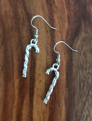 Resell for 5.00 or more Pewter candy cane Christmas  Surgical steel earwires Style #CCE083018g