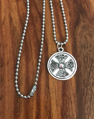 """Resell for 15.00 or more 23"""" stainless steel ball chain  Pewter Celtic Cross w Crystal 1"""" Style #CCCP083118"""