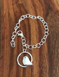 Resell for 12.00 or more 8 inch plated charm bracelet silver tone Pewter chickadee