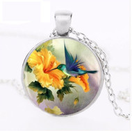 "resell for 15.00 or more 20"" silver tone chain Hummingbird pendant Style #HYFN083118"